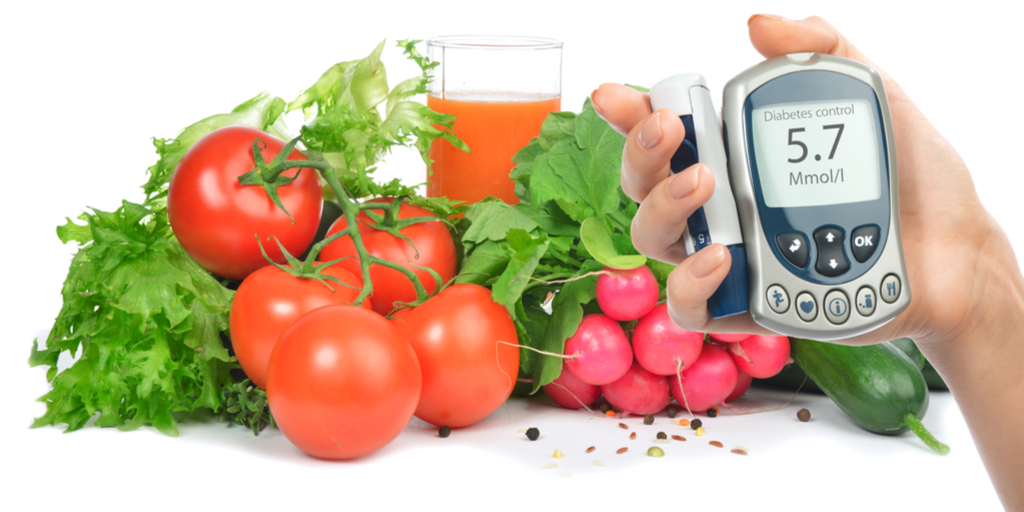 diabetes glucose monitor with fresh fruit and veg